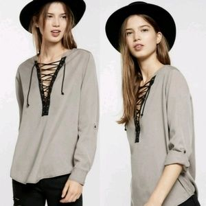 Express Lace-Up Popover Shirt {Size XL}